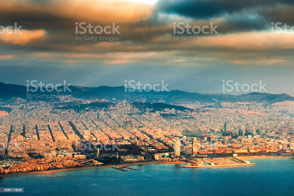 Aerial view of Barcelona Skyline stock photo