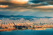 Aerial view of Barcelona Skyline