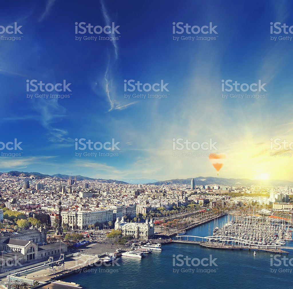 Aerial view of Barcelona, Spain at sunset stock photo