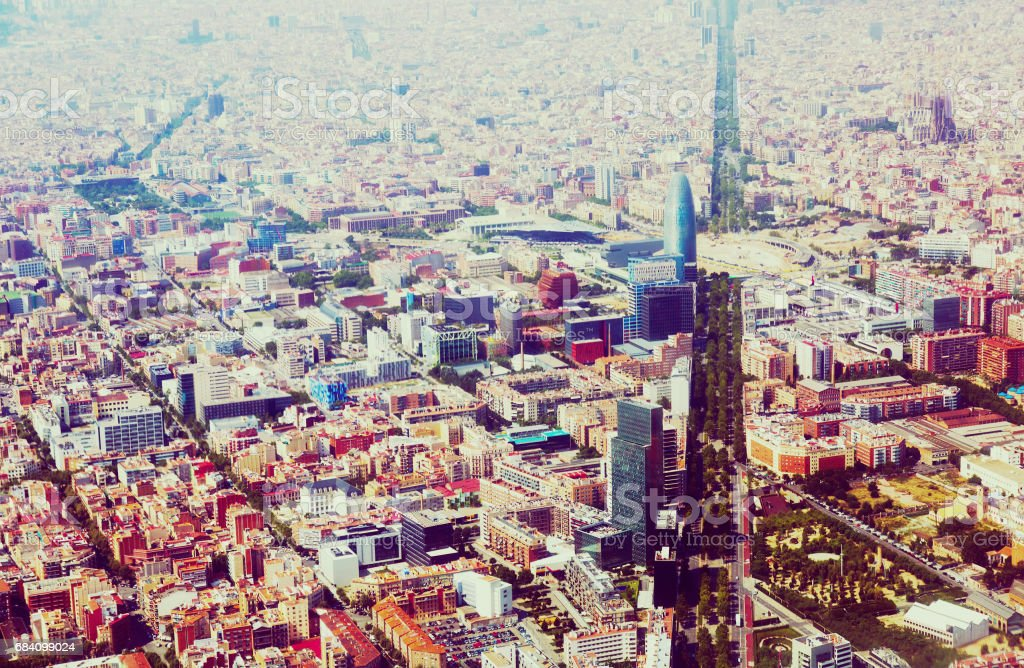 Aerial view of Barcelona with Avenue Diagonal stock photo