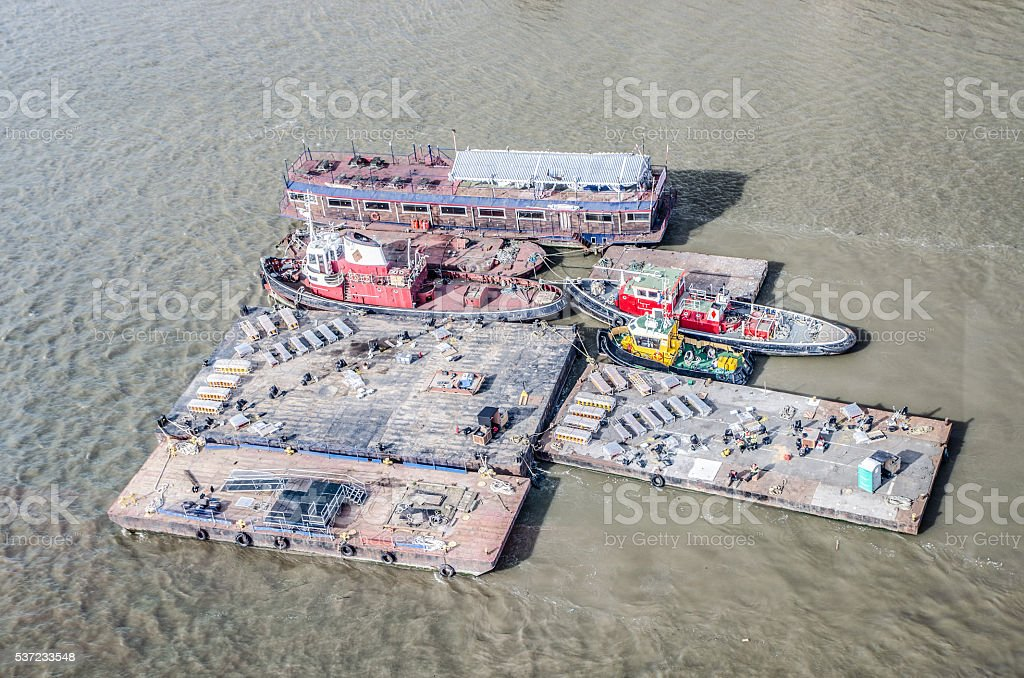 Aerial view of barge and boats on Thames River stock photo