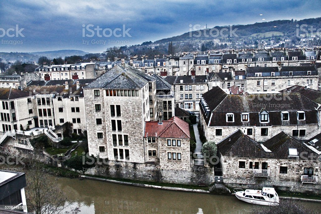 Aerial view of Bath city in UK stock photo