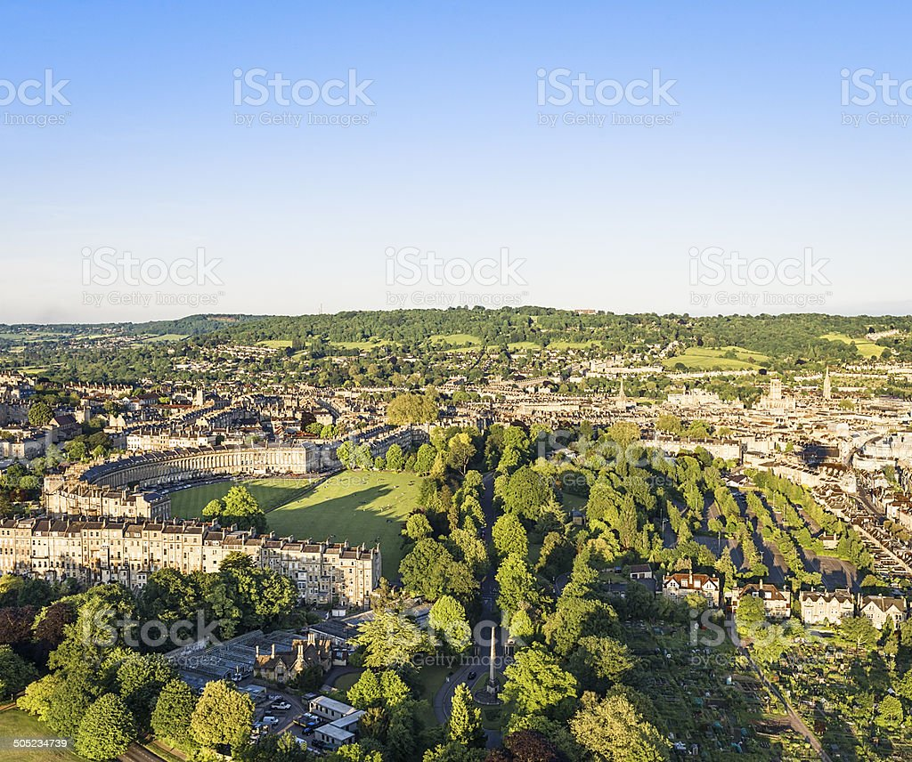 Aerial View of Bath, England stock photo