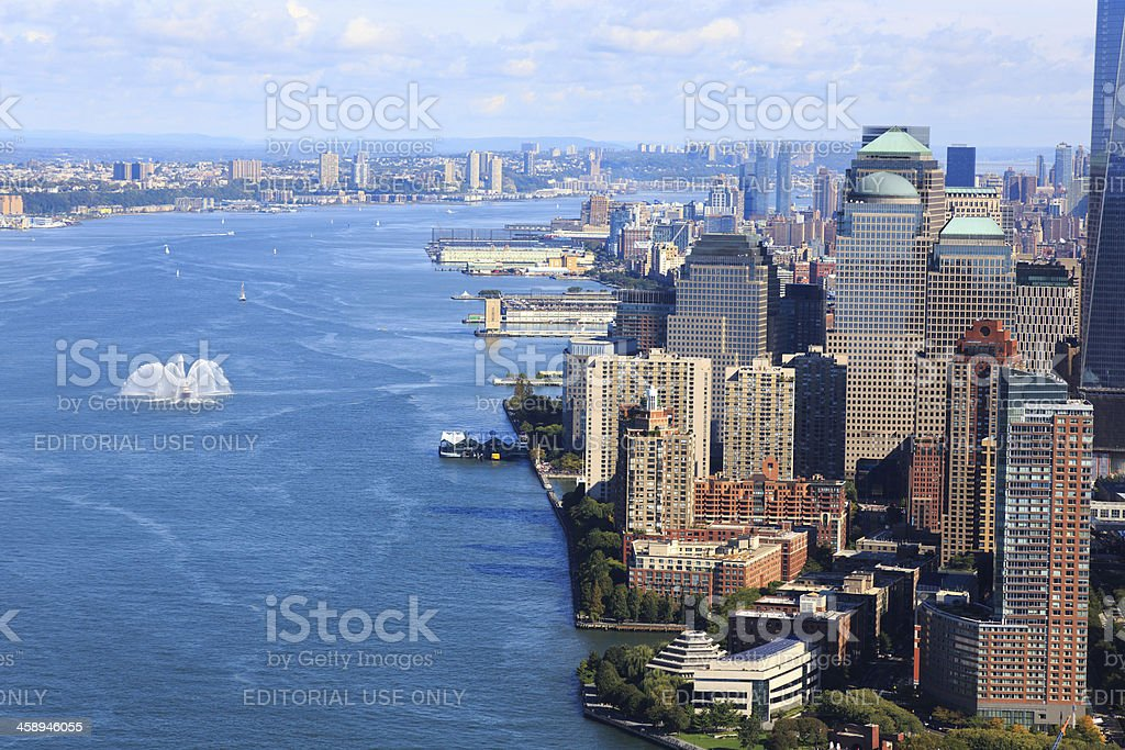Aerial View of Battery Park and Lower Manhattan, NYC, USA royalty-free stock photo