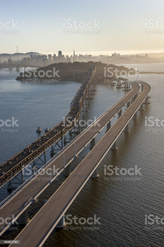 Aerial view of Bay Bridge Construction stock photo