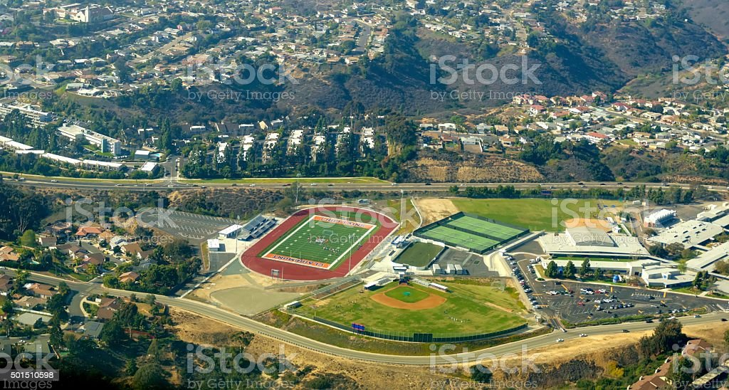 Aerial view of Bay Park, San Diego stock photo