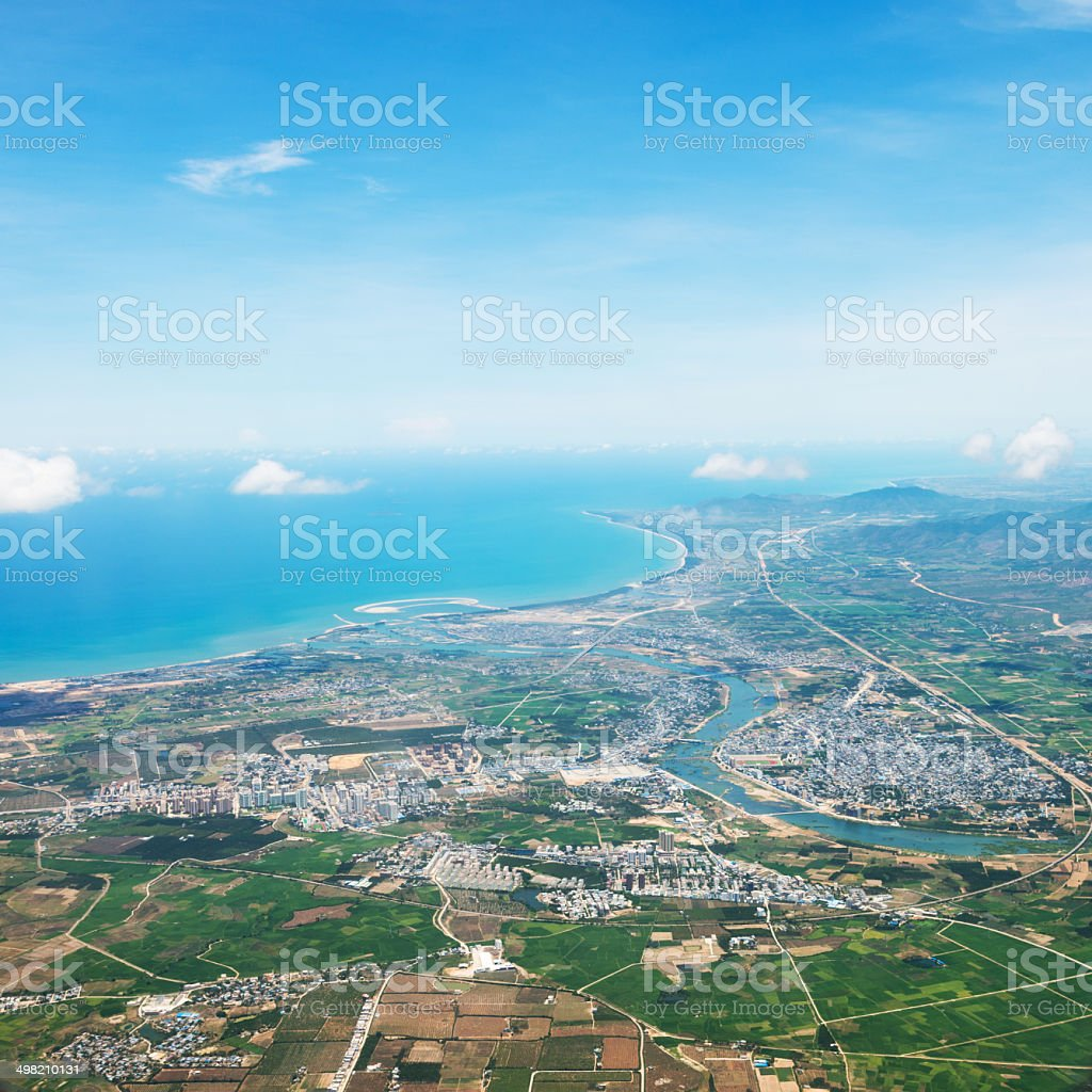 Aerial view of bay royalty-free stock photo