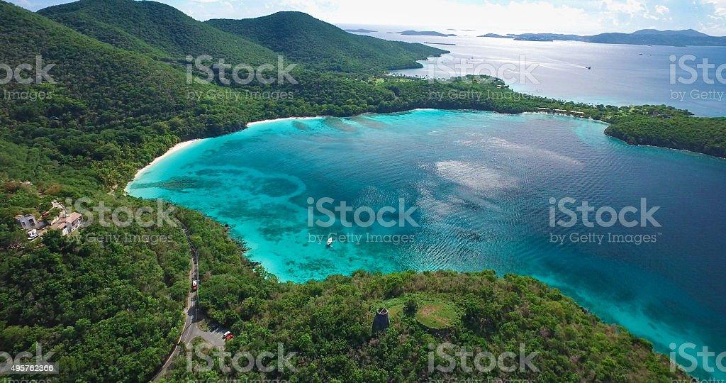 aerial view of beaches at Hawksnest Bay, St.John, USVI stock photo