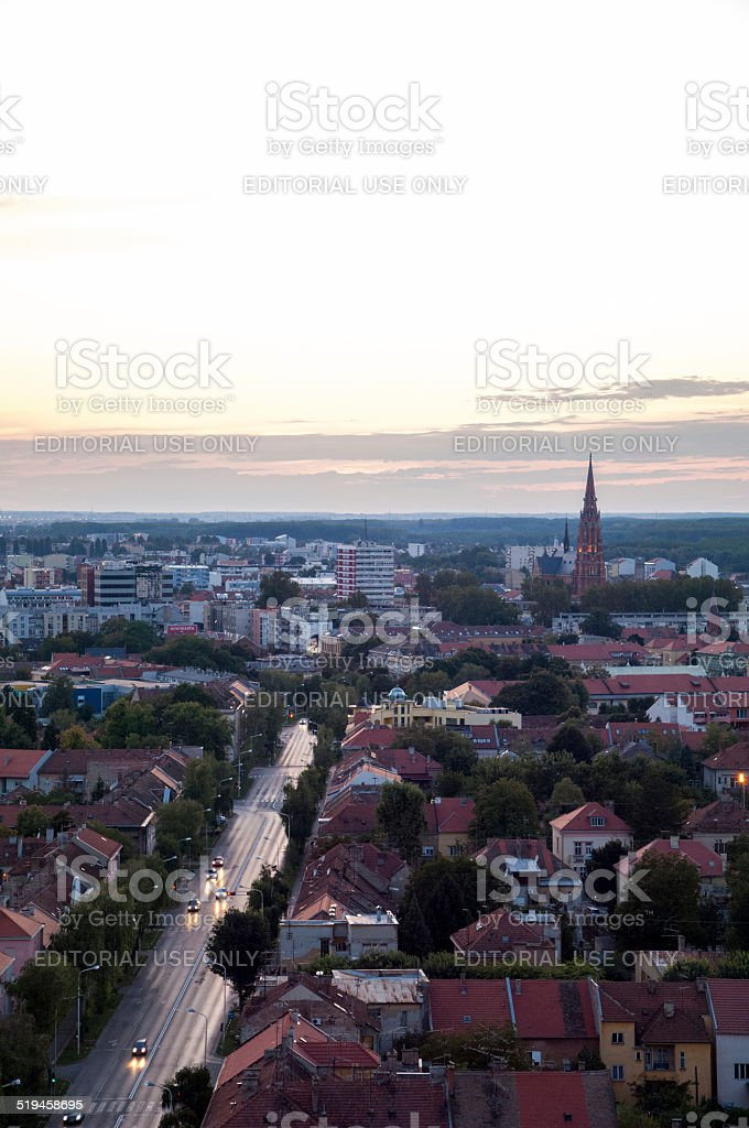 Aerial view of beautiful cityscape of city Osijek, Slavonia stock photo