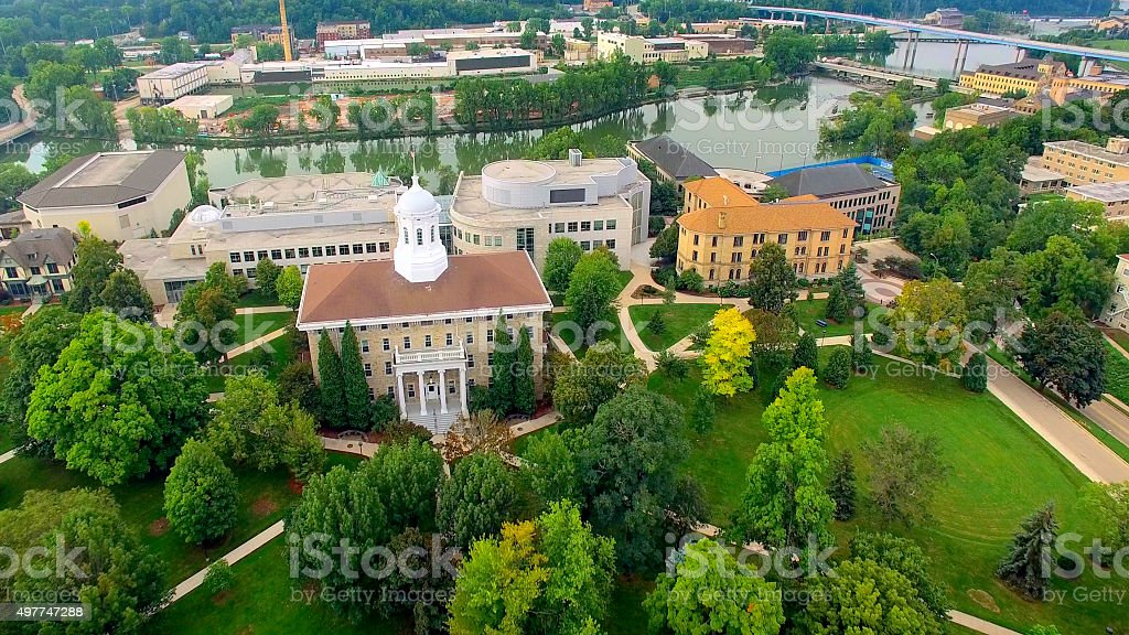 Aerial View of Beautiful College Campus stock photo