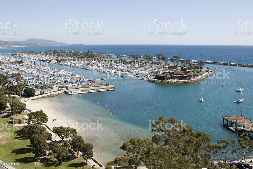 Aerial view of beautiful Dana Point Harbor  stock photo