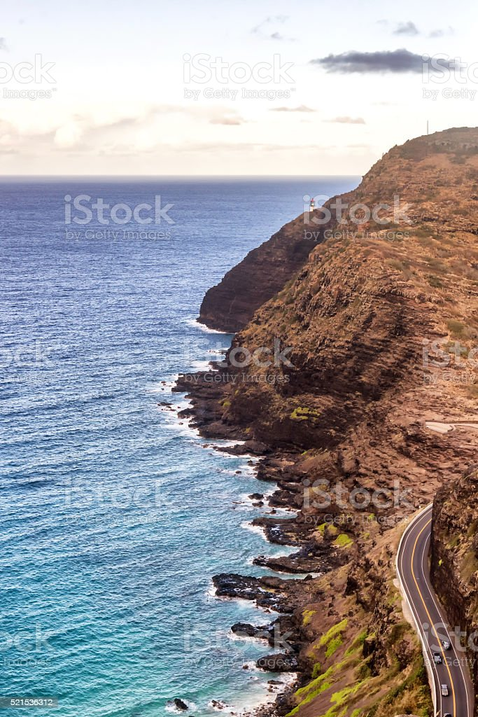 Aerial view of beautiful south shore of Oahu stock photo