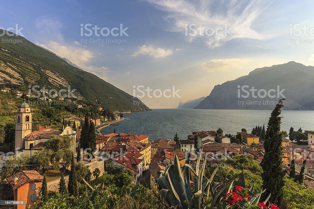 Aerial view of beautiful town of Torbole, Lake Garda stock photo