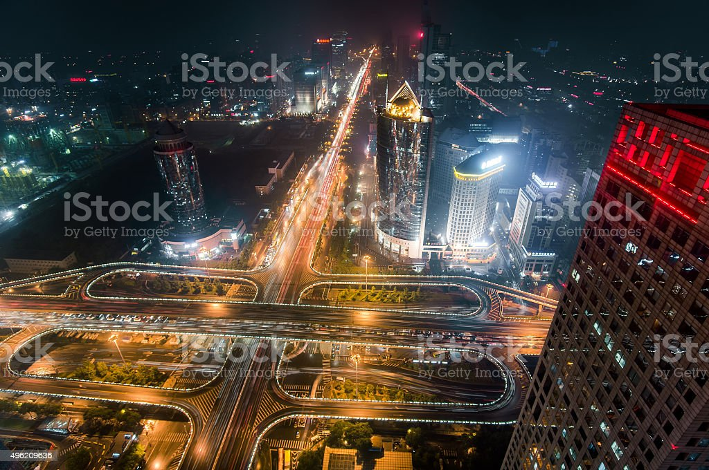 Aerial view of Beijing GuoMao CBD & Chang An avenue China stock photo