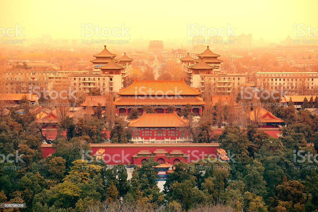 Aerial View of Beijing stock photo