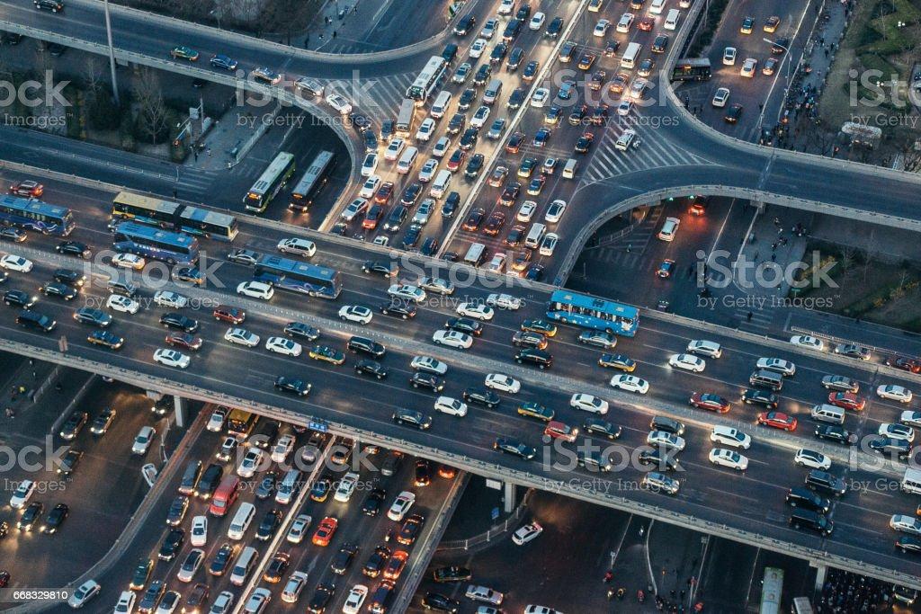 Aerial View of Beijing Traffic Jam at Dusk stock photo