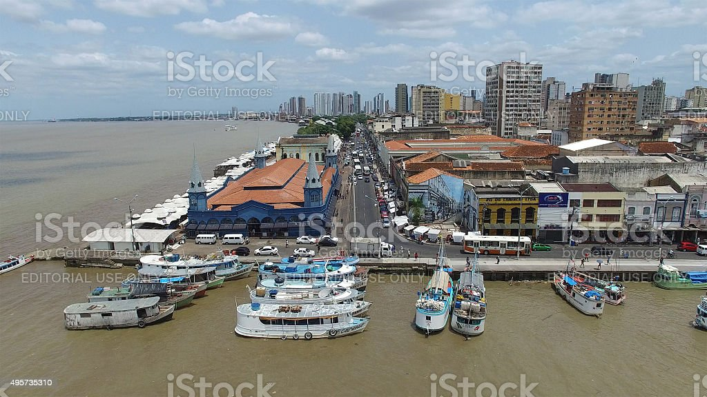 Aerial view of Belem Harbor, Brazil stock photo