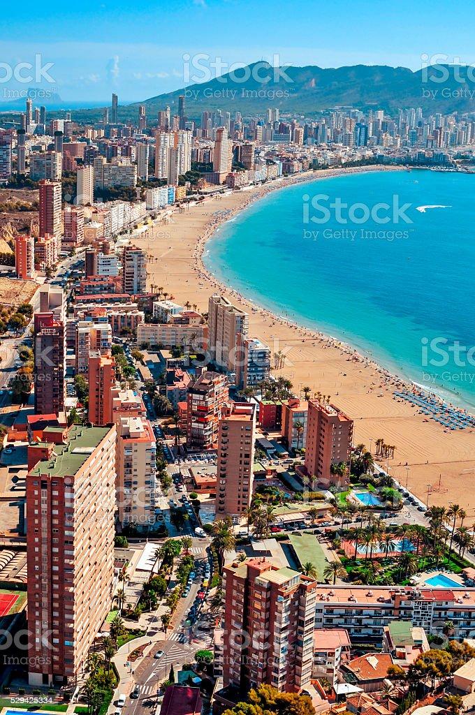 aerial view of Benidorm, Spain stock photo