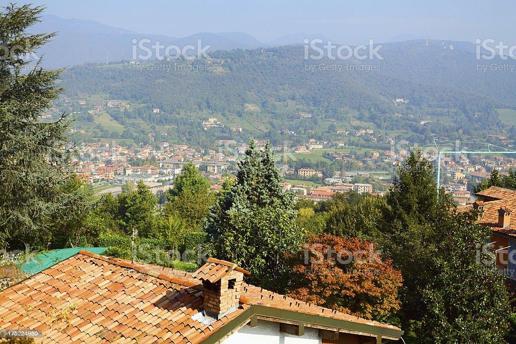 Aerial view of Bergamo East stock photo