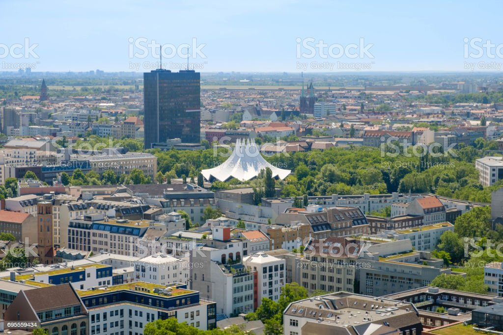 Aerial view of Berlin, Kreuberg , Berlin skyline from above stock photo