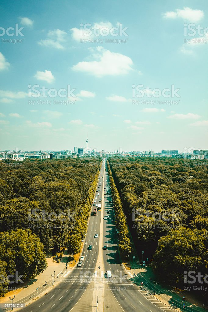 Aerial view of Berlin skyline panorama on a sunny day stock photo