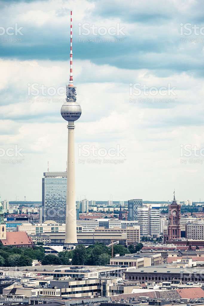 Aerial view of Berlin with Alexanderplatz tv tower - Germany royalty-free stock photo