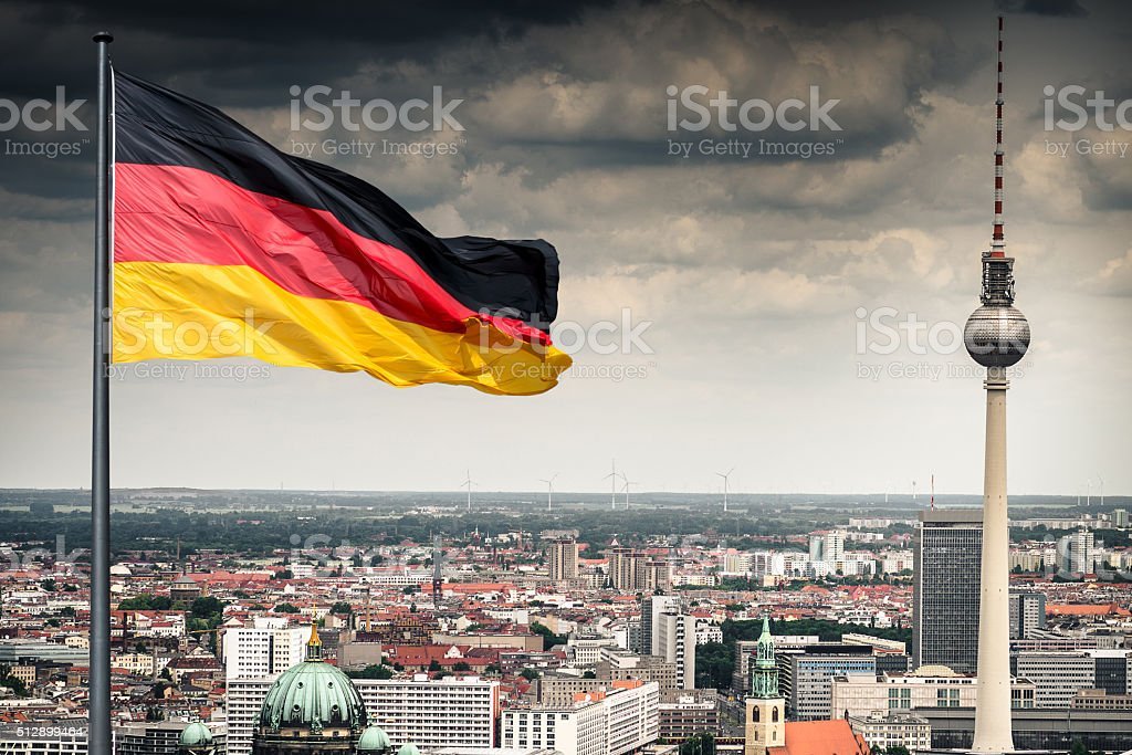 Aerial view of Berlin with Alexanderplatz tv tower - Germany stock photo