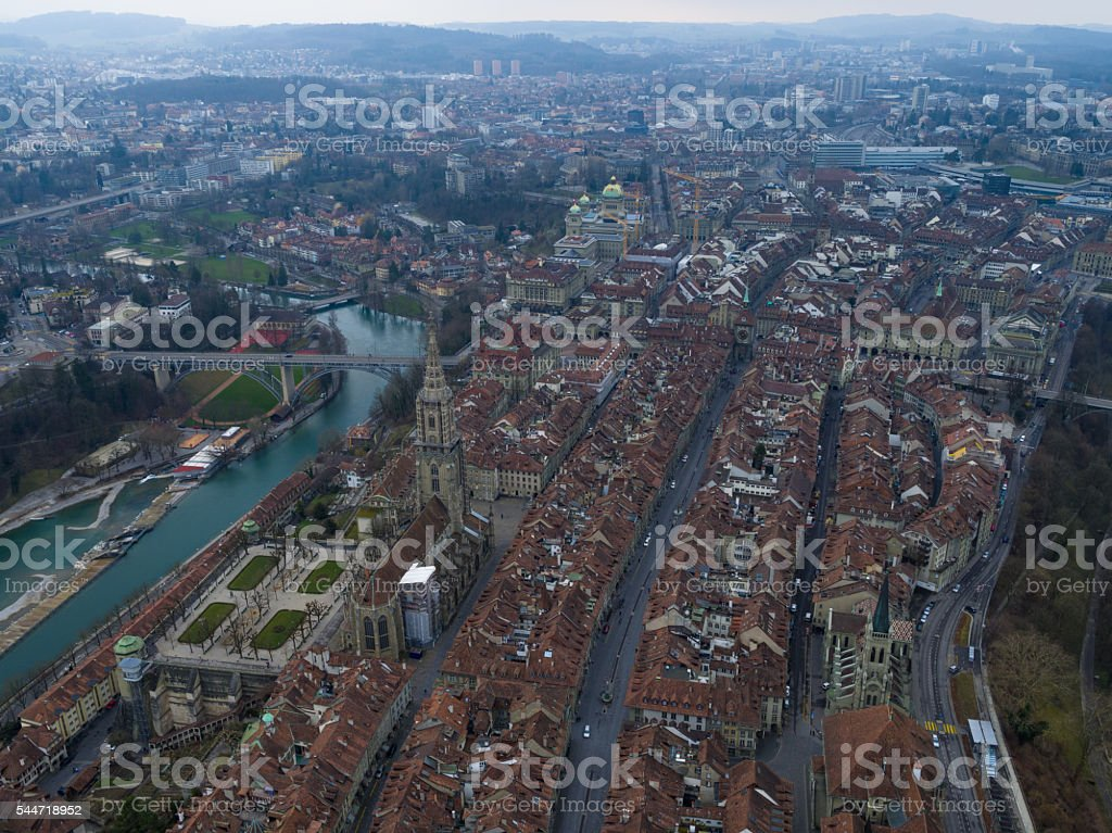 Aerial View of Bern cityscape stock photo