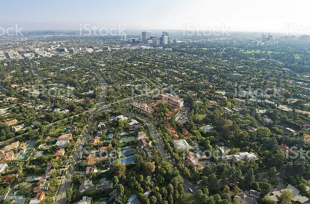 Aerial View of Beverly Hills, California stock photo