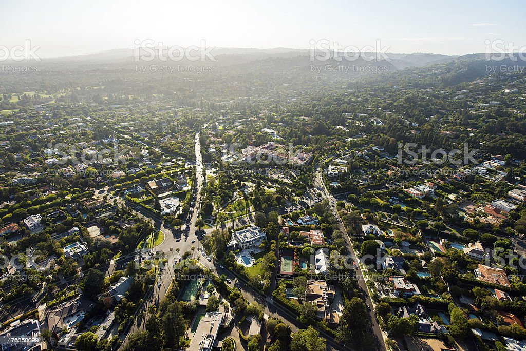 Aerial View of Beverly Hills, California royalty-free stock photo