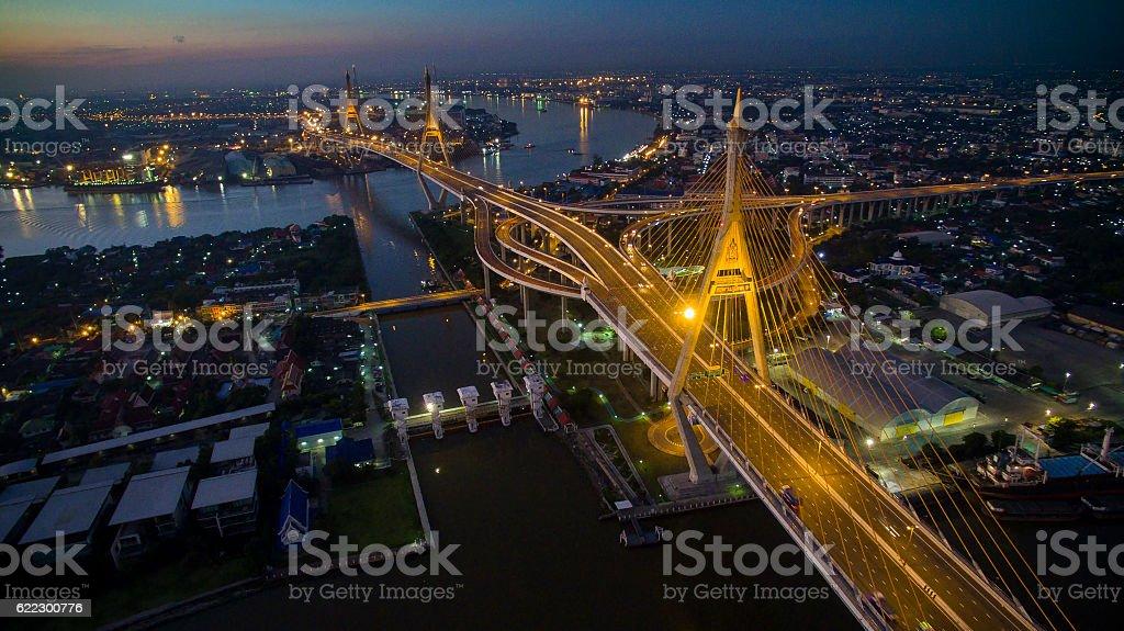 aerial view of bhumibol bridge important landmark and traffic tr stock photo