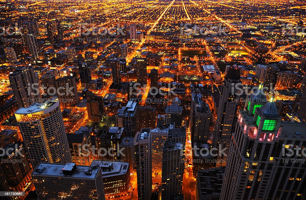 Aerial view of big city at night stock photo