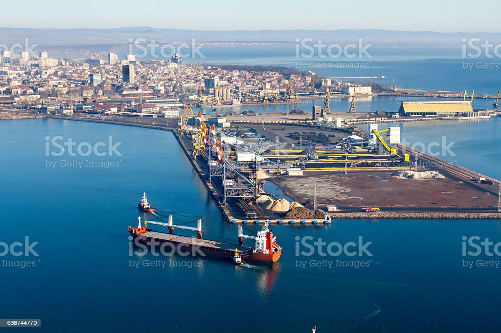 Aerial view of big international harbour stock photo