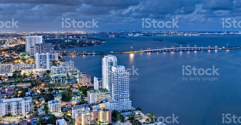 Aerial View of Biscayne Bay at Night royalty-free stock photo