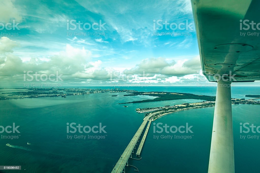 Aerial view of Biscayne Bay, Miami stock photo