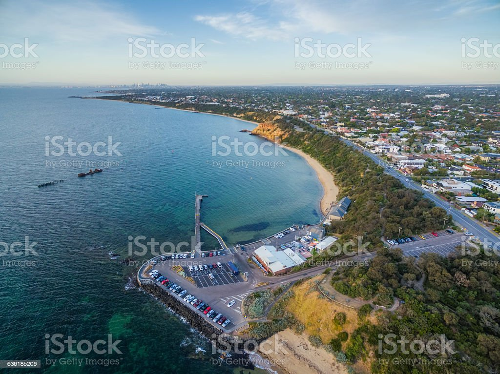 Aerial view of Black Rock pier, and shipwreck of HMVS stock photo