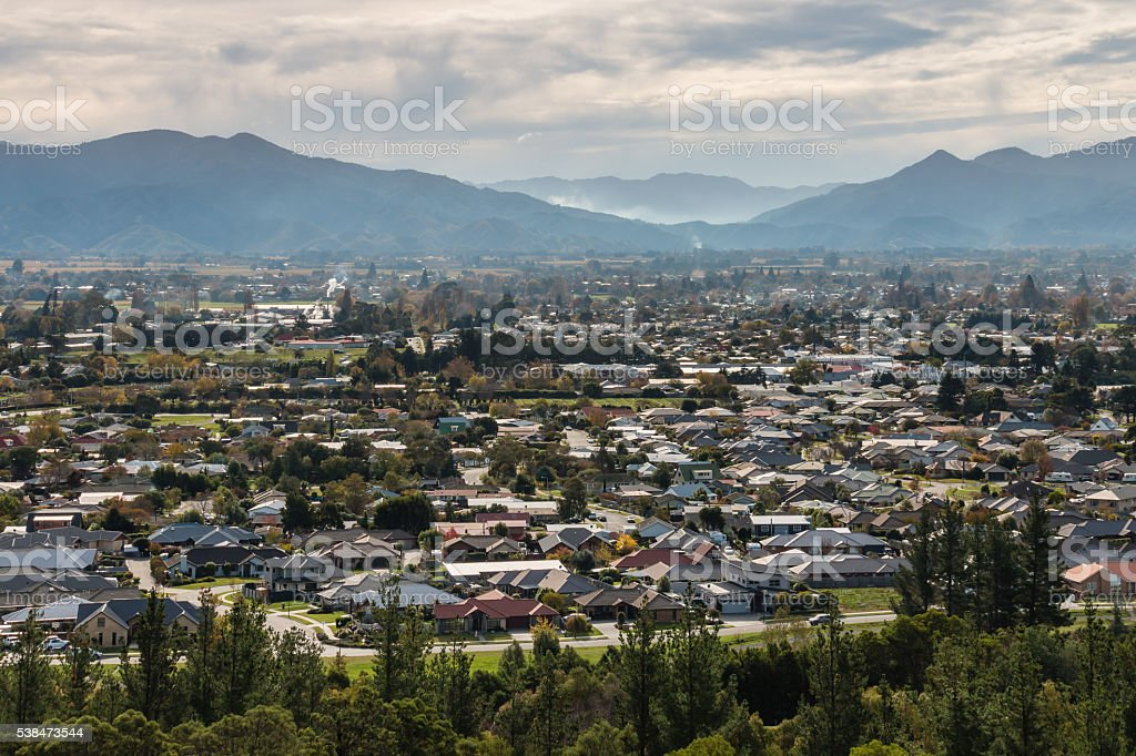 aerial view of Blenheim town in New Zealand stock photo