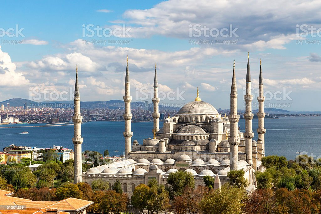 Aerial view of Blue Mosque and beautiful surrounding area stock photo