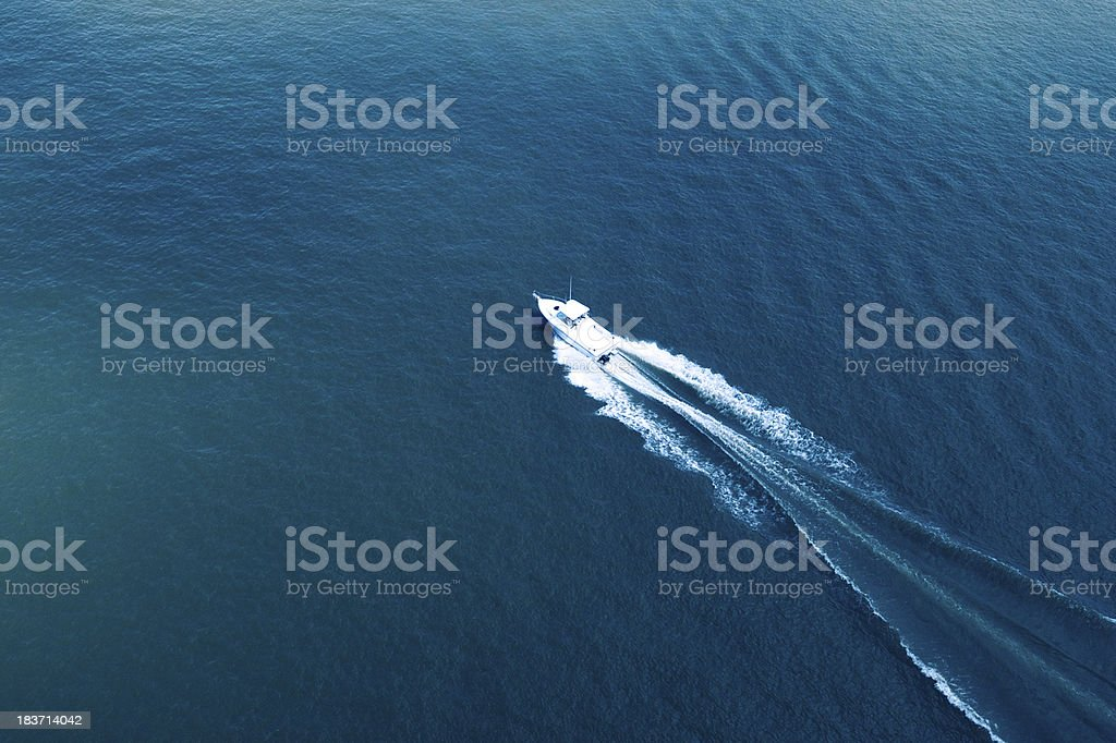 Aerial View of Boating on the Hudson River stock photo