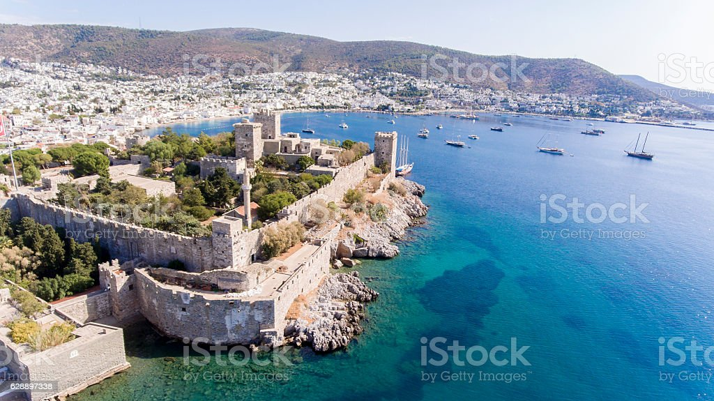 Aerial view of Bodrum on Turkish Riviera. stock photo