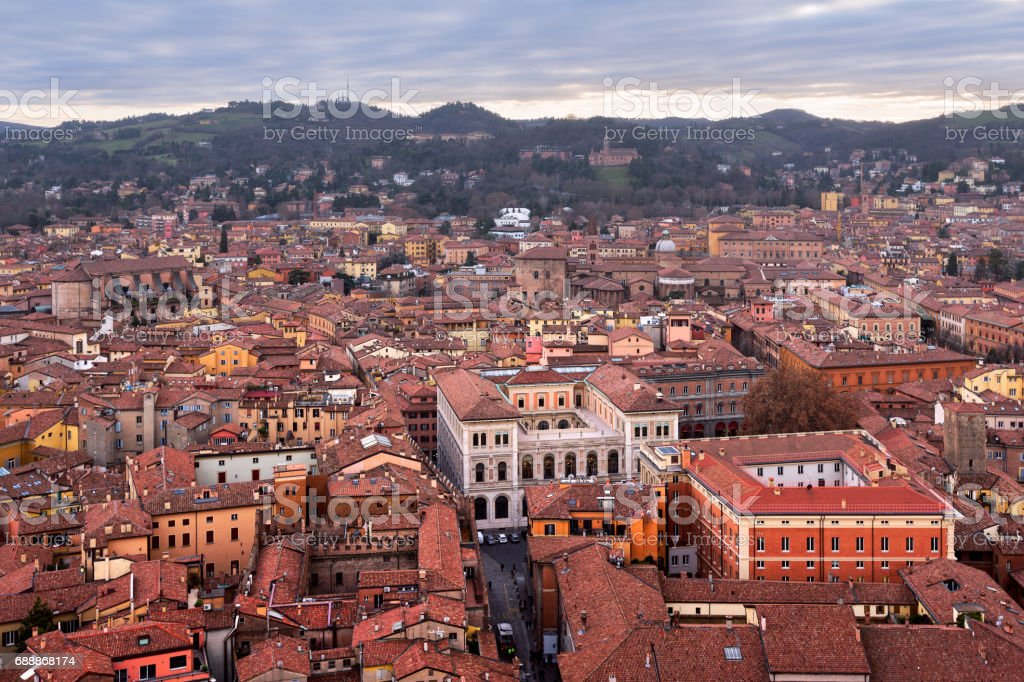 Aerial View of Bologna from Asinelli Tower, Bologna, Emilia-Romagna, Italy stock photo