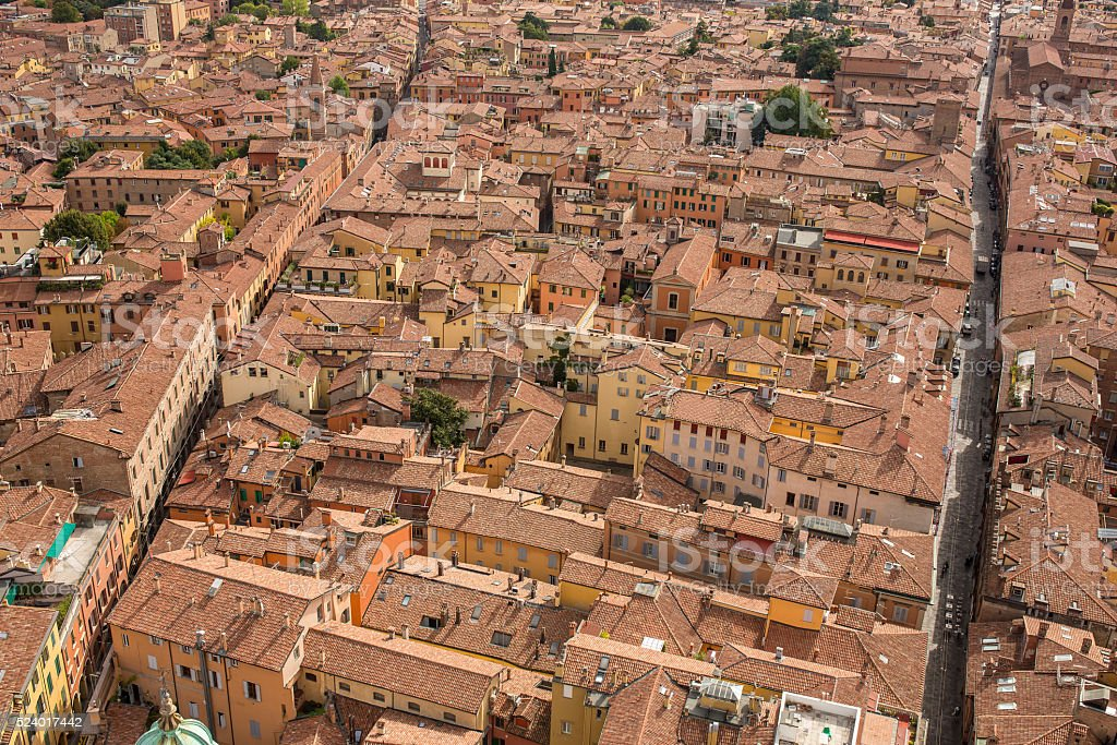 Aerial view of Bologna historical center stock photo