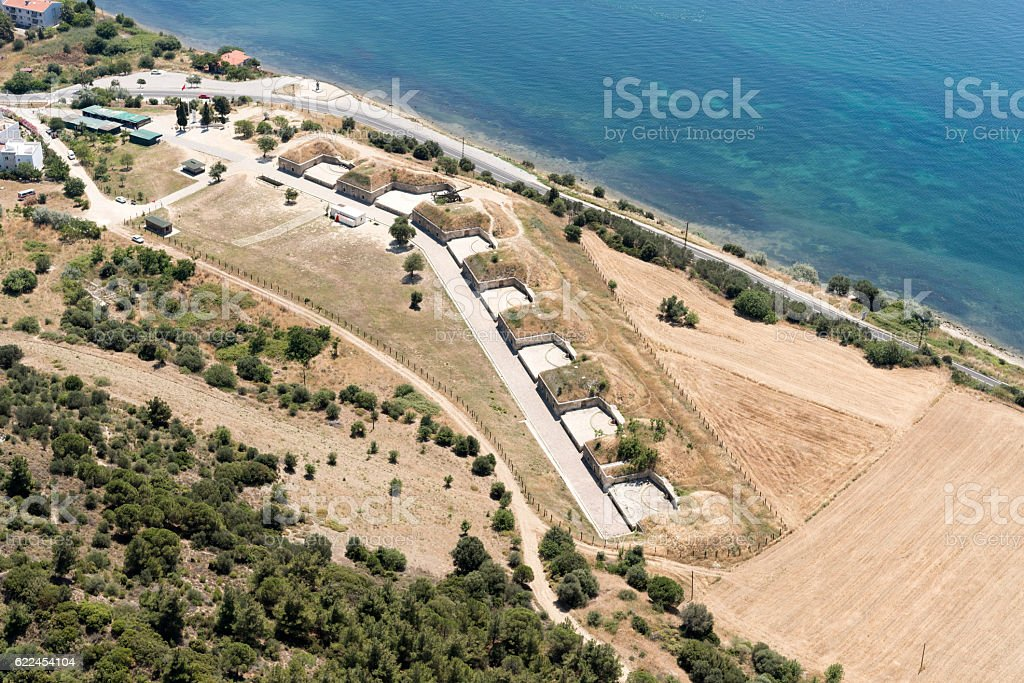 Aerial view of Bomb Shelter in Kilitbahir, Eceabat, Canakkale stock photo