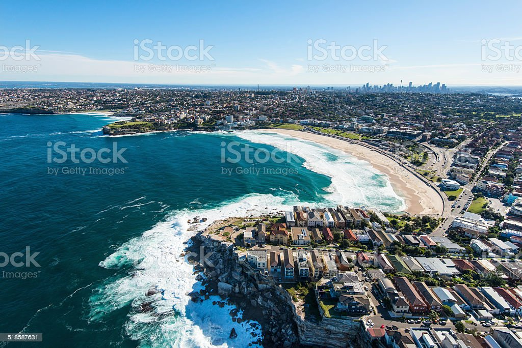 Aerial View of Bondi Beach, Australia stock photo