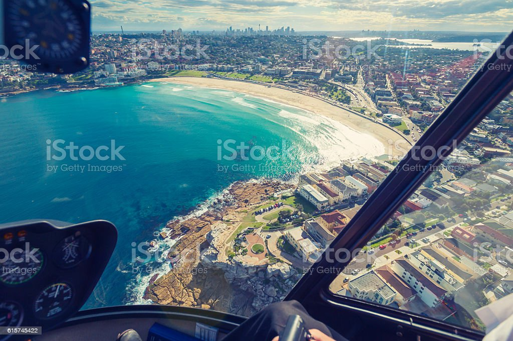 Aerial view of Bondi beach. stock photo