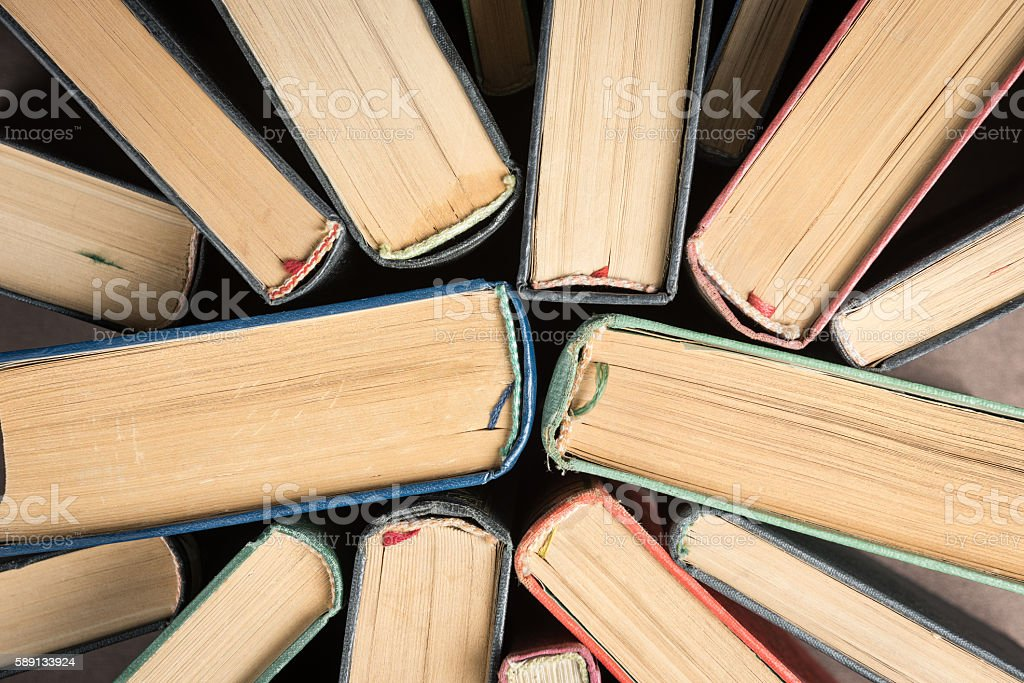 Aerial view of books stock photo