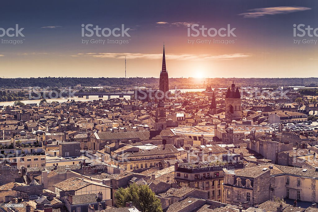 Aerial view of Bordeaux at sunset stock photo