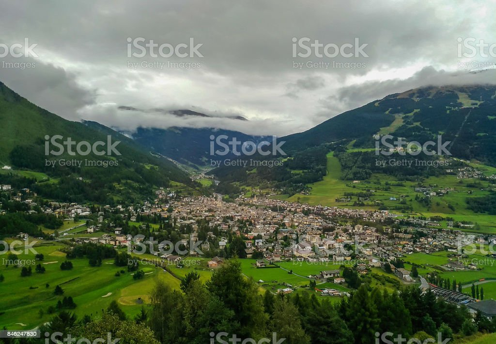 Aerial view of Bormio in Lombardy stock photo