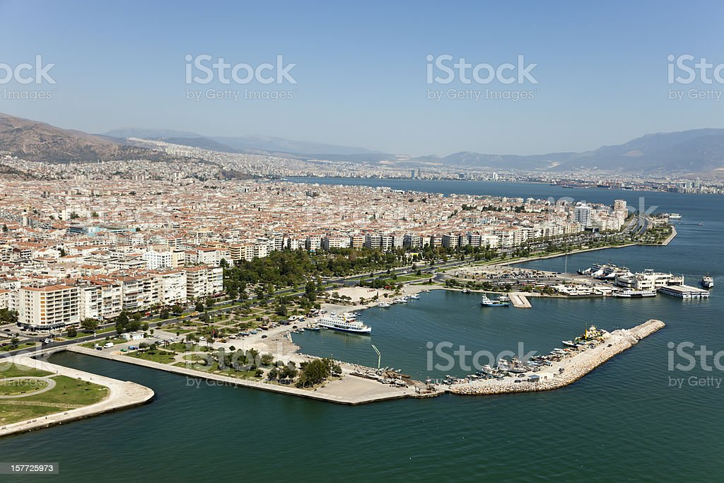 Aerial view of Bostanli Pier in Izmir stock photo