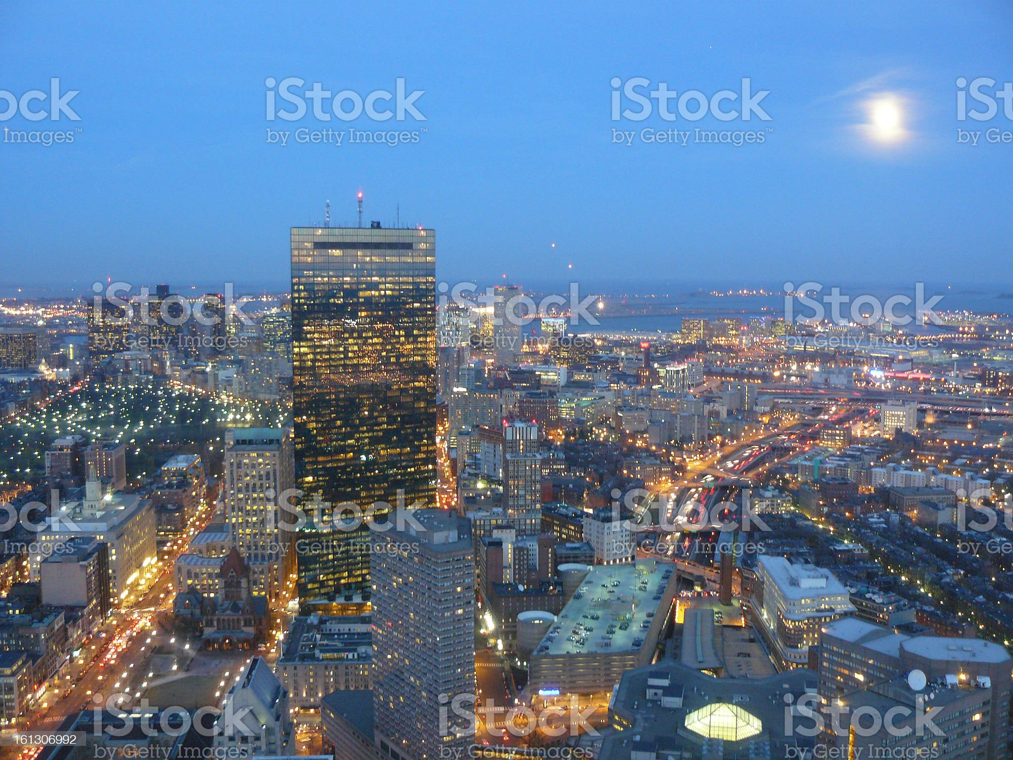 Aerial view of Boston at Night royalty-free stock photo